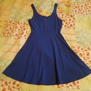 Small blue Express fit and flare dress
